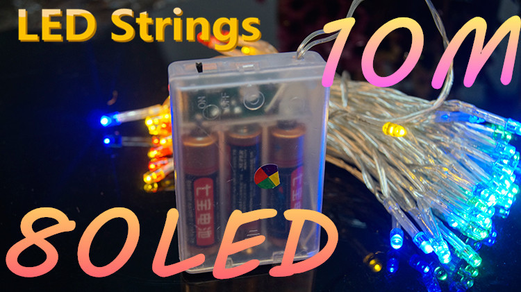 Battery LED Light Strings 10M 80LED Decoration for Holiday Halloween New Year Party Lamp Christmas night Wedding Garden Outdoor(China (Mainland))