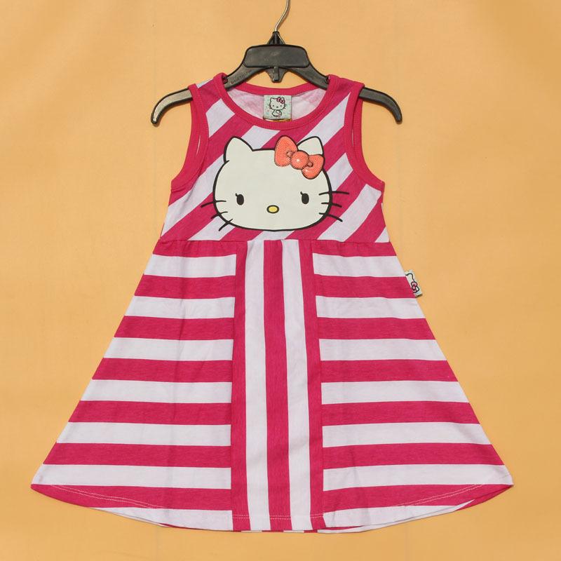 Free Shipping 6 pieces/lot 3-10T 2016 Hellokitty Girl Summer Stripe Dress<br><br>Aliexpress