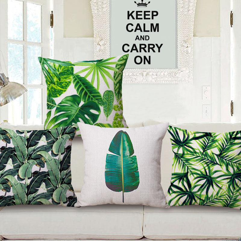 45cm 200g Tropical Rainforest Thick Type Fashion Cotton Linen Throw Pillow Hot Sale 18 Inch New Home Decor Sofa Back Cushion MQQ