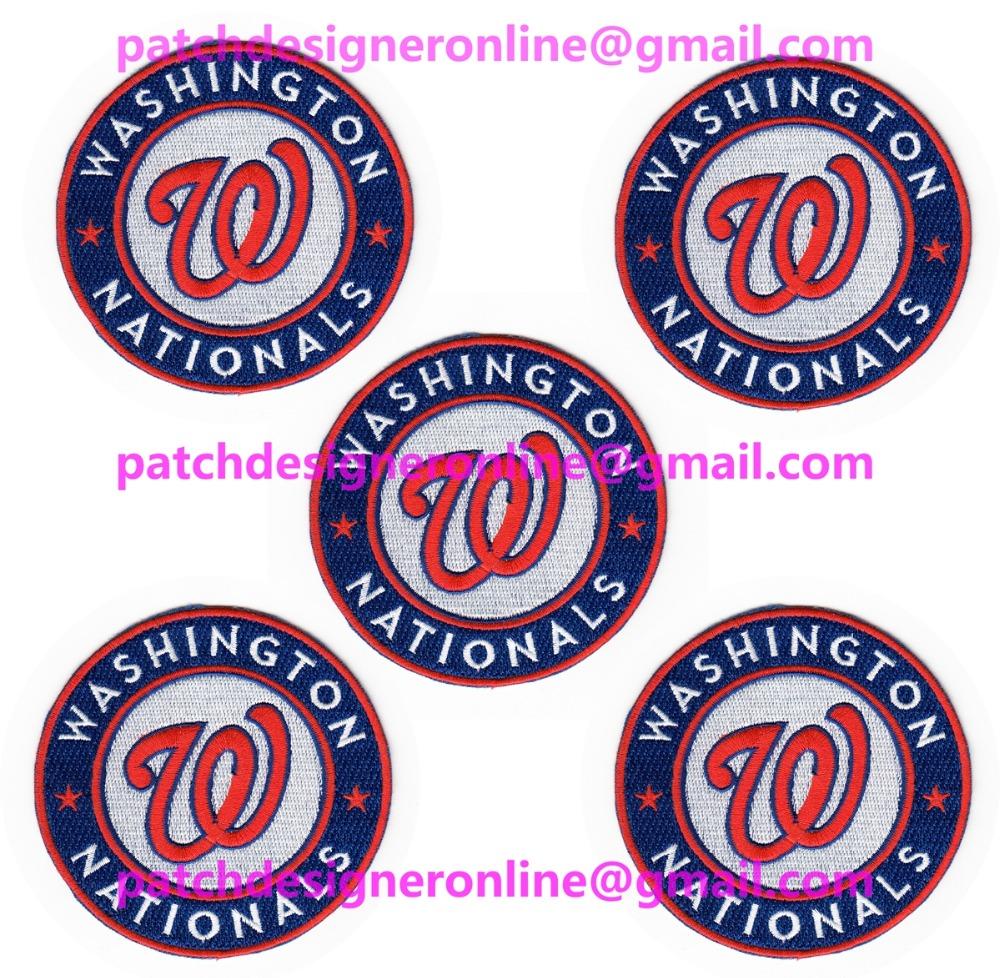 LOTS 5 PCS NEW BASEBALL Washington Nationals Jersey Sports Iron On sew on Embroidered Patch Badge 3.5'' x 3.5''(China (Mainland))