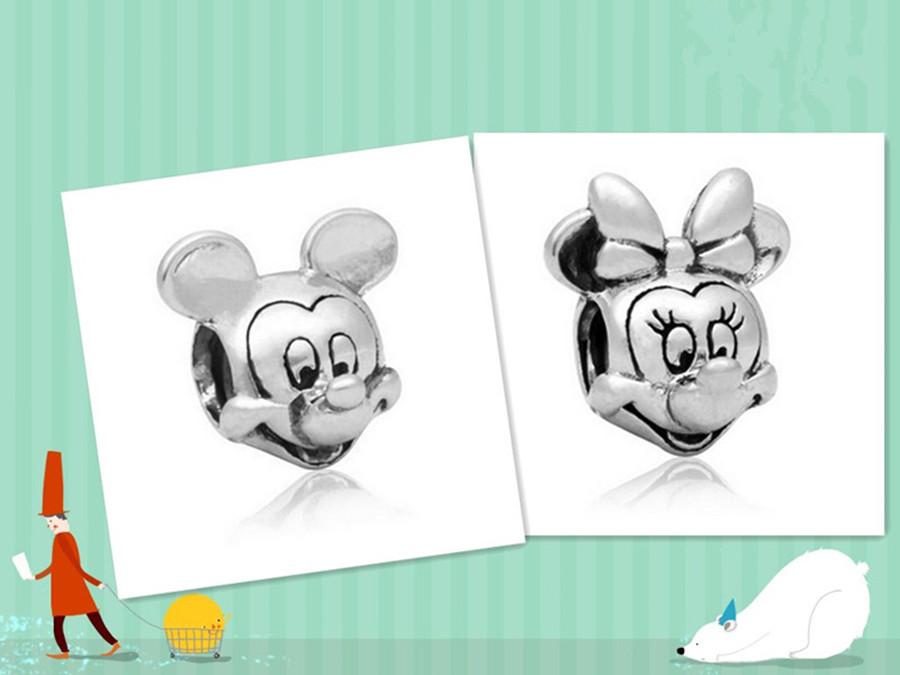 European Cartoon Alloy Beads Charm DIY Pendant Mickey Minnie Beads Fit Pandora Bracelet Silver Color 20Pcs/Set Wholesale Cheap(China (Mainland))
