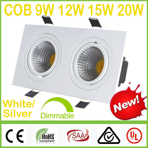 Dimmable Square White/Silver-2*(9W 12W 15W 20W) COB LED Downlights 18W 24W 30W 40W Fixture Recessed Ceiling Down Lights Lamps(China (Mainland))