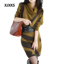 Buy 2017 Autumn Winter New Women Dresses Long Sleeve Knit Sweater Dress Turtleneck Slim Lady Accept waist Package hip dresses for $26.39 in AliExpress store