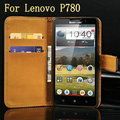 New 2014 Retro PU Leather Case For Lenovo K900 Wallet Style Phone Bag Cover Flip Stand Design With 3 Card Slots 1 Bill Site