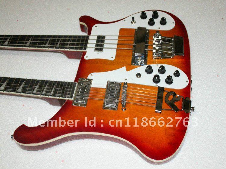 Wholesale Cherry Burst 4003 Fireglo Double Neck Electric Bass Guitar 4/12 Strings Ebony Board(China (Mainland))