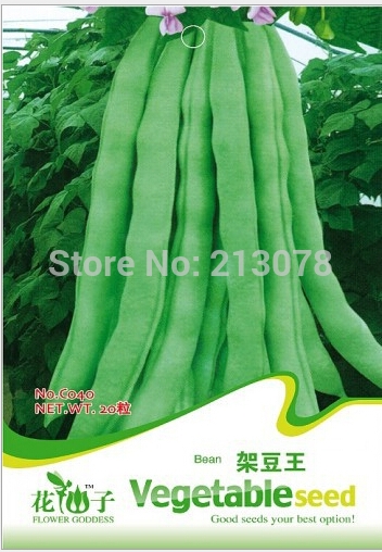 Original authentic vegetable seeds pole beans king, green bean seed rack, green pods,about 20 particles/pack(China (Mainland))