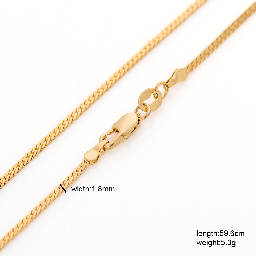 """Hot sale 24"""" long men women miami curb / franco gold chain for 60cm 1.8mm 5.3g 22K gold GF filled thin pendant necklace(Hong Kong)"""