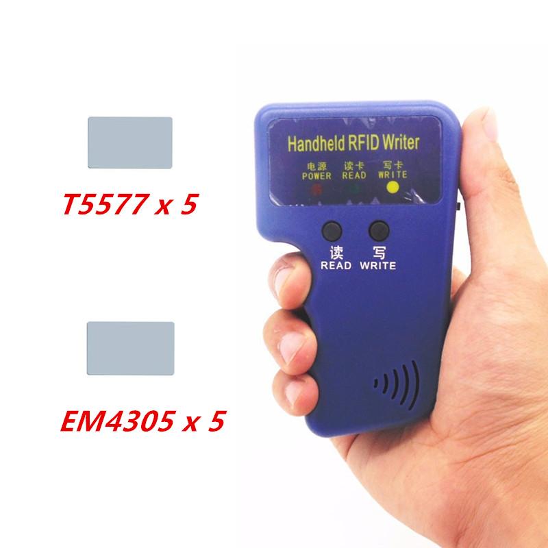 Handheld RFID Reader Writer 125KHZ RFID Copier Duplicator For ID Card Copier + 5pcs T5577 Card and + 5pcs EM4305 Card