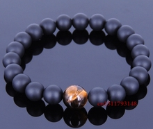 Handmade Gemstone Bracelet Matte Black Onyx Tiger Eye Elastic MEN WOMEN