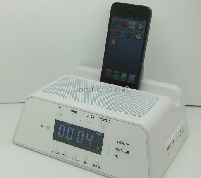 lcd fm radio alarm clock bluetooth speaker charging dock. Black Bedroom Furniture Sets. Home Design Ideas