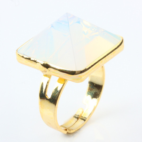 3Pc Pyramid Flared Point Opal Opalite Stone Healing Chakra Gem Stone Adjustable Golden Finger Ring(China (Mainland))