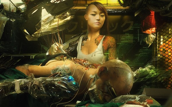 art cyborg wires sci-fi fantasy cyberpunk girl woman <font><b>asian</b></font> 4 Sizes <font><b>Home</b></font> <font><b>Decoration</b></font> Canvas Poster Print