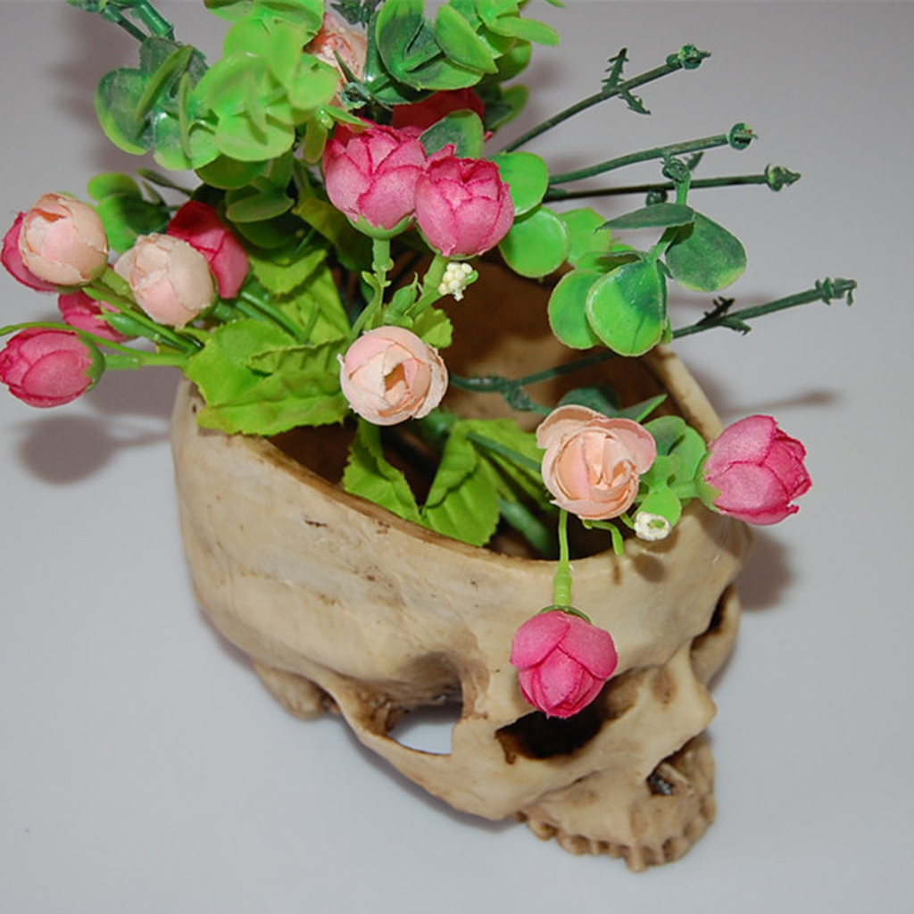 2Pieces Human Skull Head Design Flower Pot Planter Halloween Party Decor Home Bar DIY Ornament Bedroom Decoration