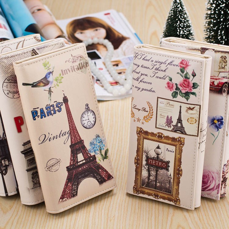 1 PC New Fashion Women Lady Retro Vintage Long Purse Clutch Wallet London Eiffel Towel Doll Design Printing Bag Card Holder(China (Mainland))