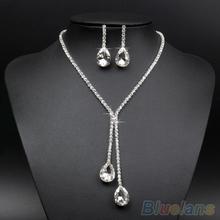 2014 Wedding Bridal Wedding Silver Plated Crystal Rhinestone Necklace Earrings Jewelry Set  00TM(China (Mainland))