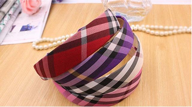 Beige Plaid font b Tartan b font Check Grid Ribbon Headband Hair Hoop Check Hair Accessories