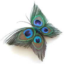 New Butterfly Peacock Feather Bridal Wedding Hair Clip Pin Head Hairpin