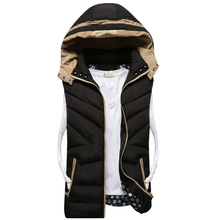 New Mens Jacket Sleeveless vest homme Winter Fashion Casual Coats Male Hooded Cotton-Padded Men's Vest men Thickening Waistcoat(China (Mainland))