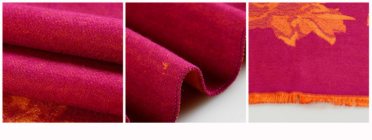 2017 New Style Silk Cotton Mixed Material Warm Pashmina Long Floral Shawl for Women Square Winter Tassel Red Ladies Scarf