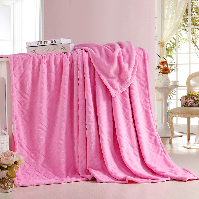 New Summer /Spring Super Soft Plush Velvet Fleece Blanket for Bed Sofa Couch Throw Single Twin Full Queen Size Solid Color Pink(China (Mainland))