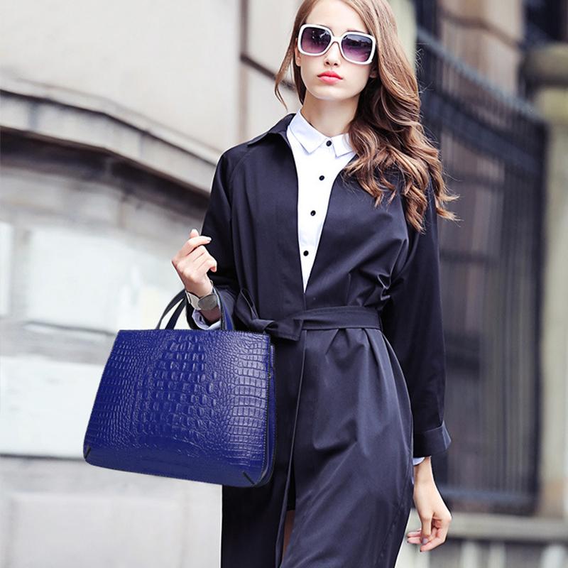 2016 New fashion women designer handbags high quality embossed handbag crocodile pattern real leather tote ladies shoulder bags