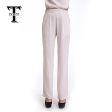 T-Inside 2016 Women Pants Cotton Linen Elastic Waist with Pockets Loose Wide Leg High Quality Daily Wear Casual Women Trousers(China (Mainland))