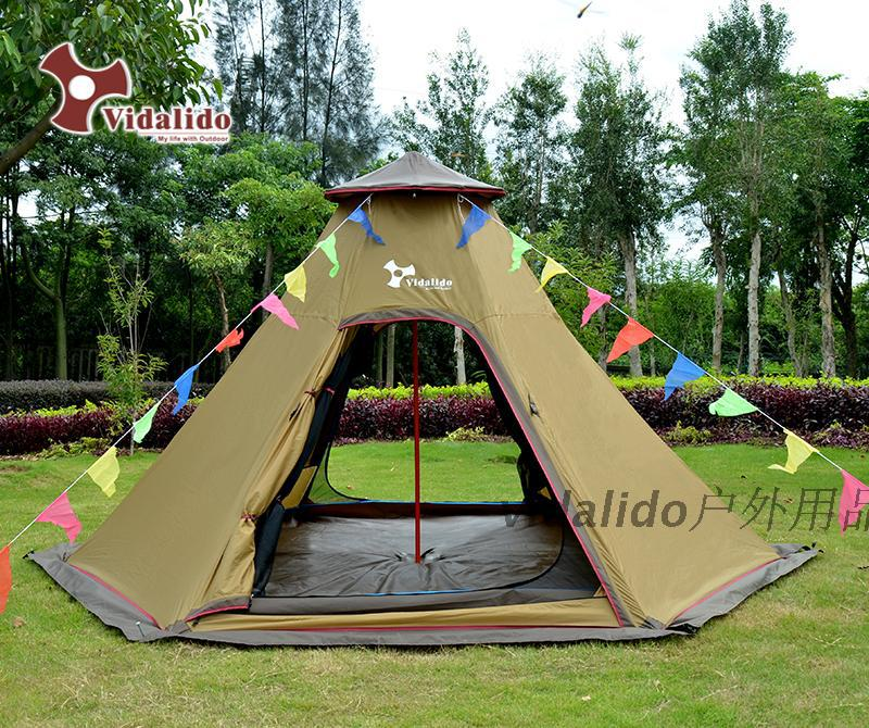 Luxury outdoor tent multiplayer rain Indiana driving double hexagonal tower yurt tent camping tent(China (Mainland))