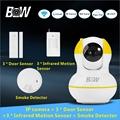 Free Shipping IP Camera Network Wireless 3 Door Sensor 3 Infrared Motion Sensor Smoke Detector P2P