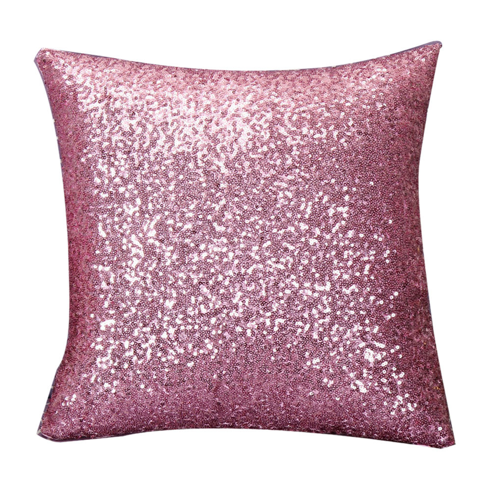 High Quality Fashion 8 Colors Solid Color Glitter Sequins Throw Pillow Case Cafe Home Decor Cushion