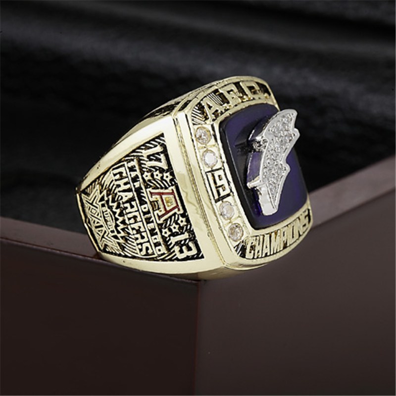 San Diego Chargers Championship Ring 1994 Replica AFC American Football Rings Antique Jewelry Men Fan Gift Gold Plated BJ250(China (Mainland))