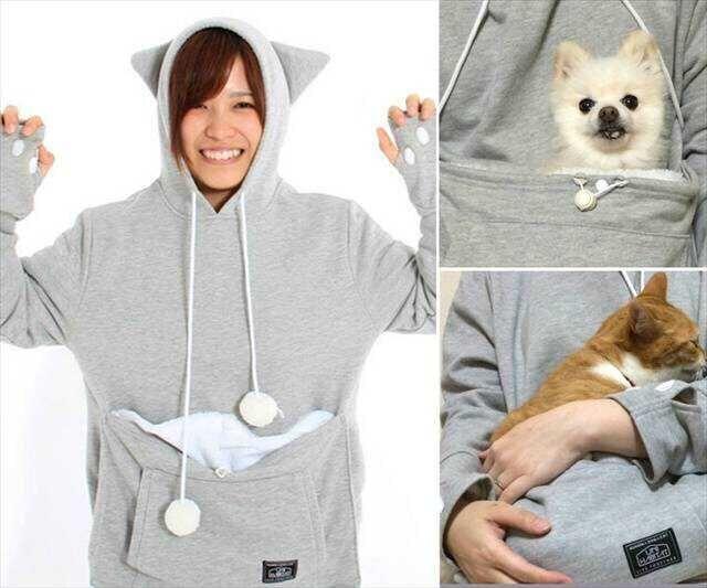 Mewgaroo Nyangaroo кошка собака Pet свободного покроя мужская кенгуру пальто с капюшоном ...