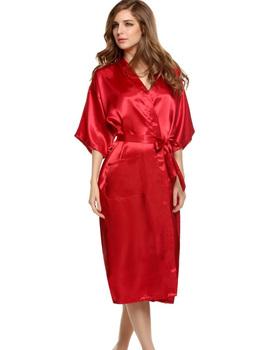 S-xxxl искусственный шелк халат женщин кимоно атлас длинная халат сексуальный женское ...