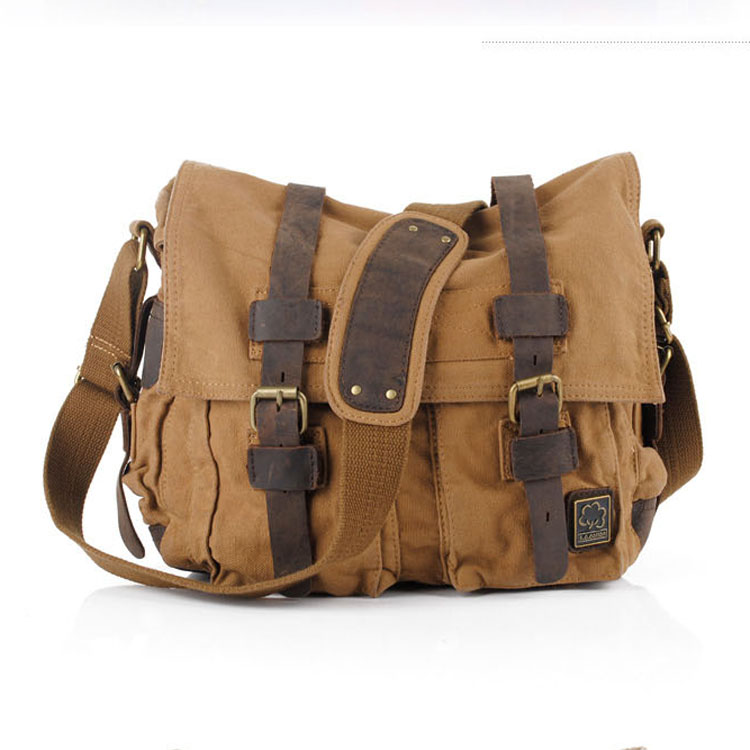 High Quality Canvas Leather Sling Bags Men Military Army Vintage Messenger Bag Casual Handmade Practical Travel Bags X005(China (Mainland))