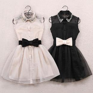 Платье без рукавов лето, женские платья бант ремень весна сладкий жемчуг алмаз нагрудные ...