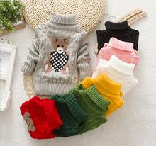 new 2014 baby girls boys autumn/winter wear warm cartoon sweaters children pullovers outerwear babi turtleneck sweater(China (Mainland))