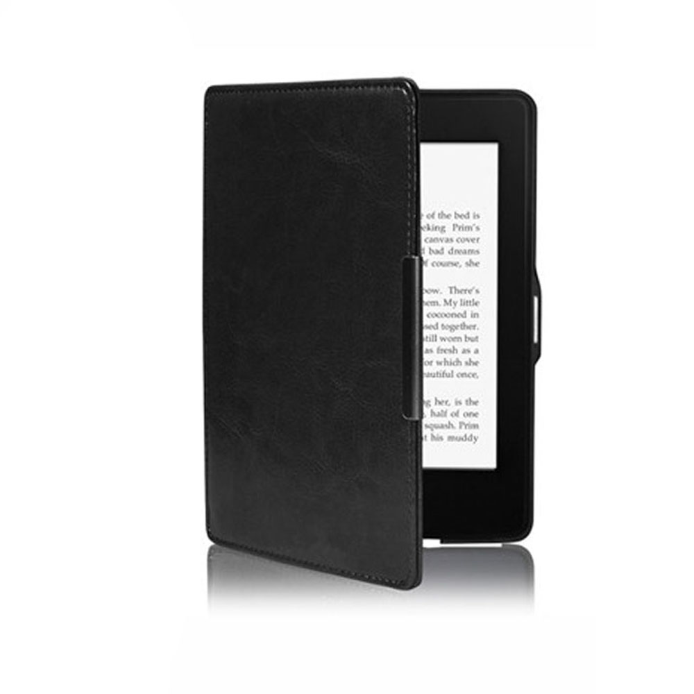 Smart Magnetic Auto Sleep PU Leather Cover Case For Amazon Kindle Paperwhite 1 2 Fashion Solid Black Good Quality