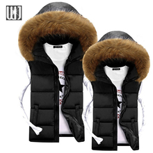 New Arrival 2015 Vest Men Solid Fur Hooded Jacket Down Mens Vests Winter Outerwear Waistcoat Chaleco Hombre Colete Masculino(China (Mainland))