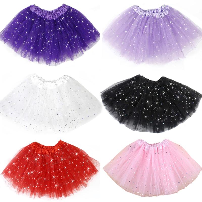 Girls Kids Tutu Skirt Princess Party Ballet Dance Wear 3 Layers Tulle Star Glitter Toddler Girl Performance Costumes Tutu Skirt(China (Mainland))