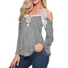 ZANZEA Lace Patchwork Blouse 2016 Women Blusas Casual Cotton Sexy Off Shoulder V Neck Shirt Ladies Long Sleeve Plus Size Tee Top(China (Mainland))