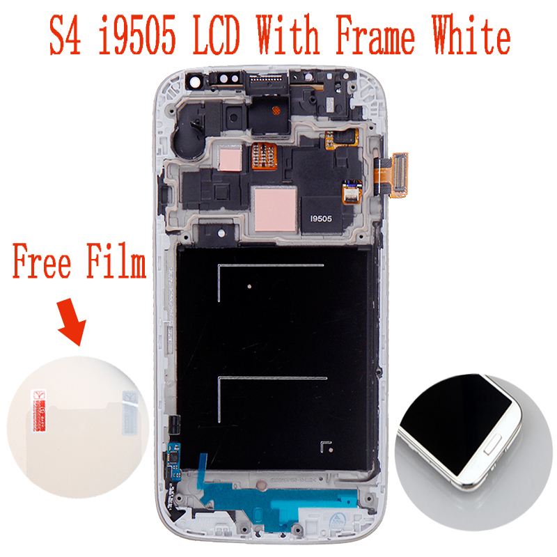 100% gaurantee original LCD For Samsung Galaxy S4 i9505 With Touch screen + Frame+ Assembly White Color free shipping(China (Mainland))