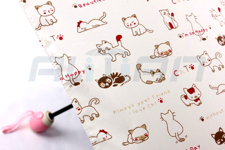 ea1b3ff7a75a Cute Cat Fully-automatic umbrella Rain Women Folding Umbrellas Super Mini  Umbrella 3folding Umbrellas kids Female Sunny Parasol - us99
