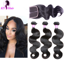 Grade 7A Brazilian Virgin Hair With Closure Cheap Brazilian Human Hair Weave 3 Bundles Brazilian Body Wave With Lace Closure(China (Mainland))
