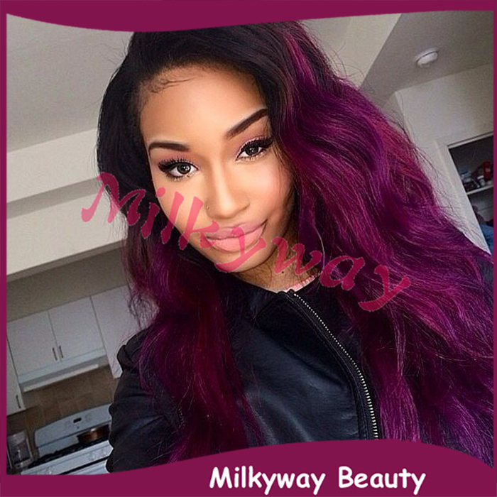 Гаджет  Free shipping 1b to purple two tone ombre heat resistant wavy synthetic lace front wig None Волосы и аксессуары
