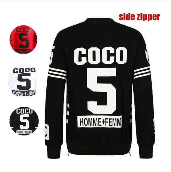 Harajuku Punk Women Men sports Unisex homme femme coco 5 Pullover Crewneck hip hop Hoodie Side Zipper Sweatshirt clothing(China (Mainland))
