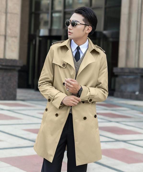 Christmas Korean plus size 6XL 7XL 9XL 8XL blue trench coat men Spring long coat gentleman brand beige double-breasted jacket