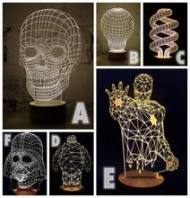1Piece 3D Wood Skull Mood Lamp Darth Vader Bulbing Light USB Baymax Table Lamp Ironman Bumblebee Jesus Spiderman Tellurion(China (Mainland))