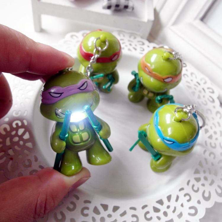 New Teenage Mutant Ninja Turtles LED Flashlight Keychina with sound action toy figures Keychain toys gift for child kids toys(China (Mainland))