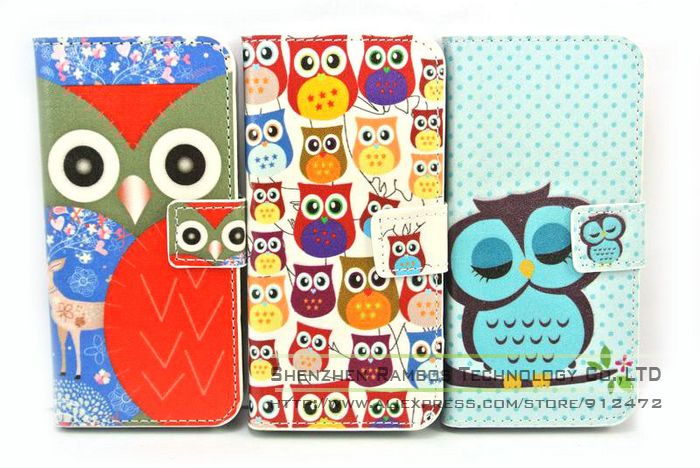 New Stylish Stand Wallet with Card Holder Book PU Leather Owl Case for iPhone 5 5S(China (Mainland))