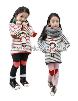 Retail Free Shipping Girls Toddler Kids Clothes 2 PCS Set Top & Leggings Outfit S3-8Y Casual Clothing Long Sleeve School