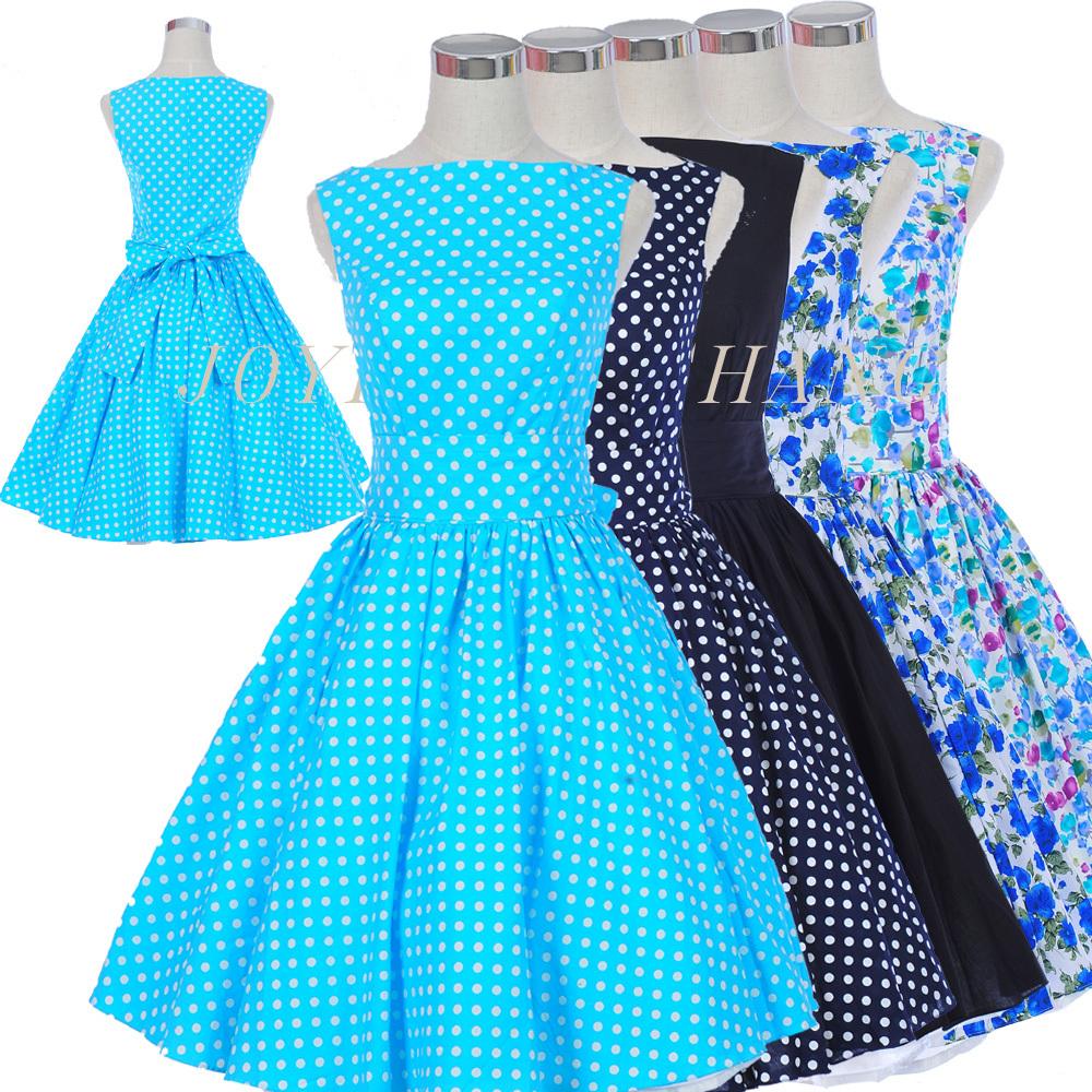 [해외]2015 여름 50 년대 60 년대 레트로 로커 빌리 드레스 볼 가운 ..